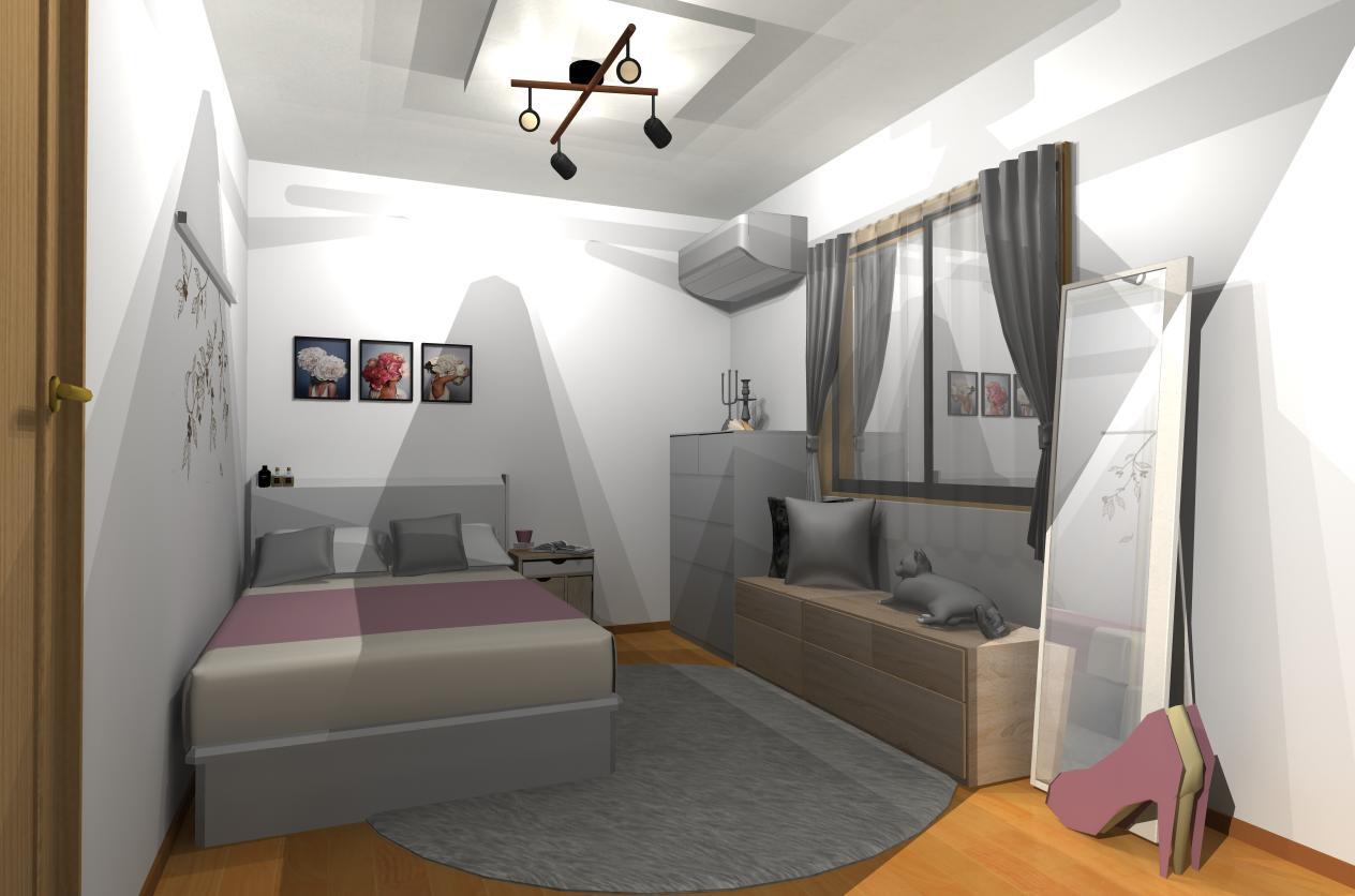 一人暮らし 寝室 インテリア コーディネート例 モダン