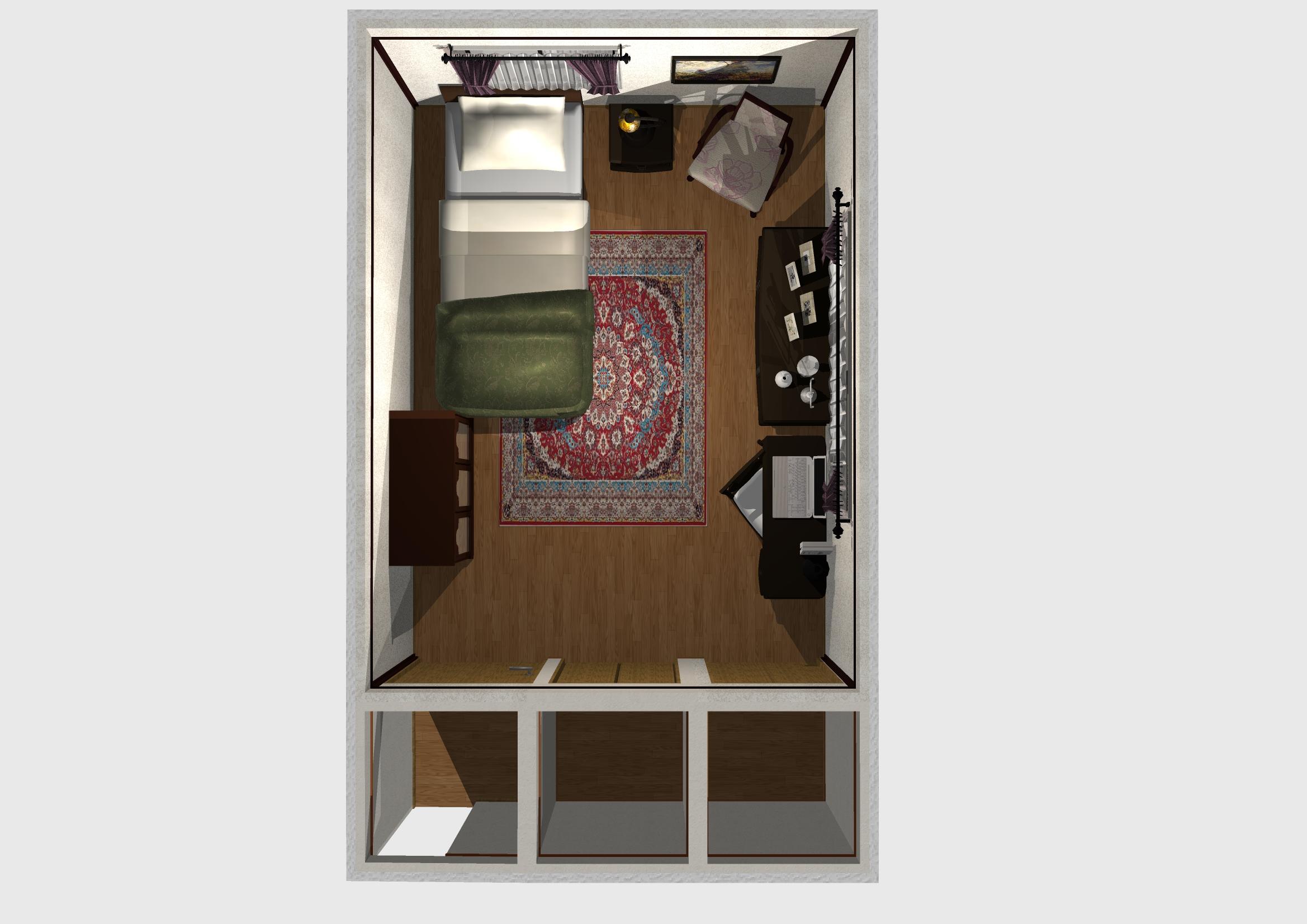 一人暮らし 寝室 インテリア コーディネート例 上面図 レトロ